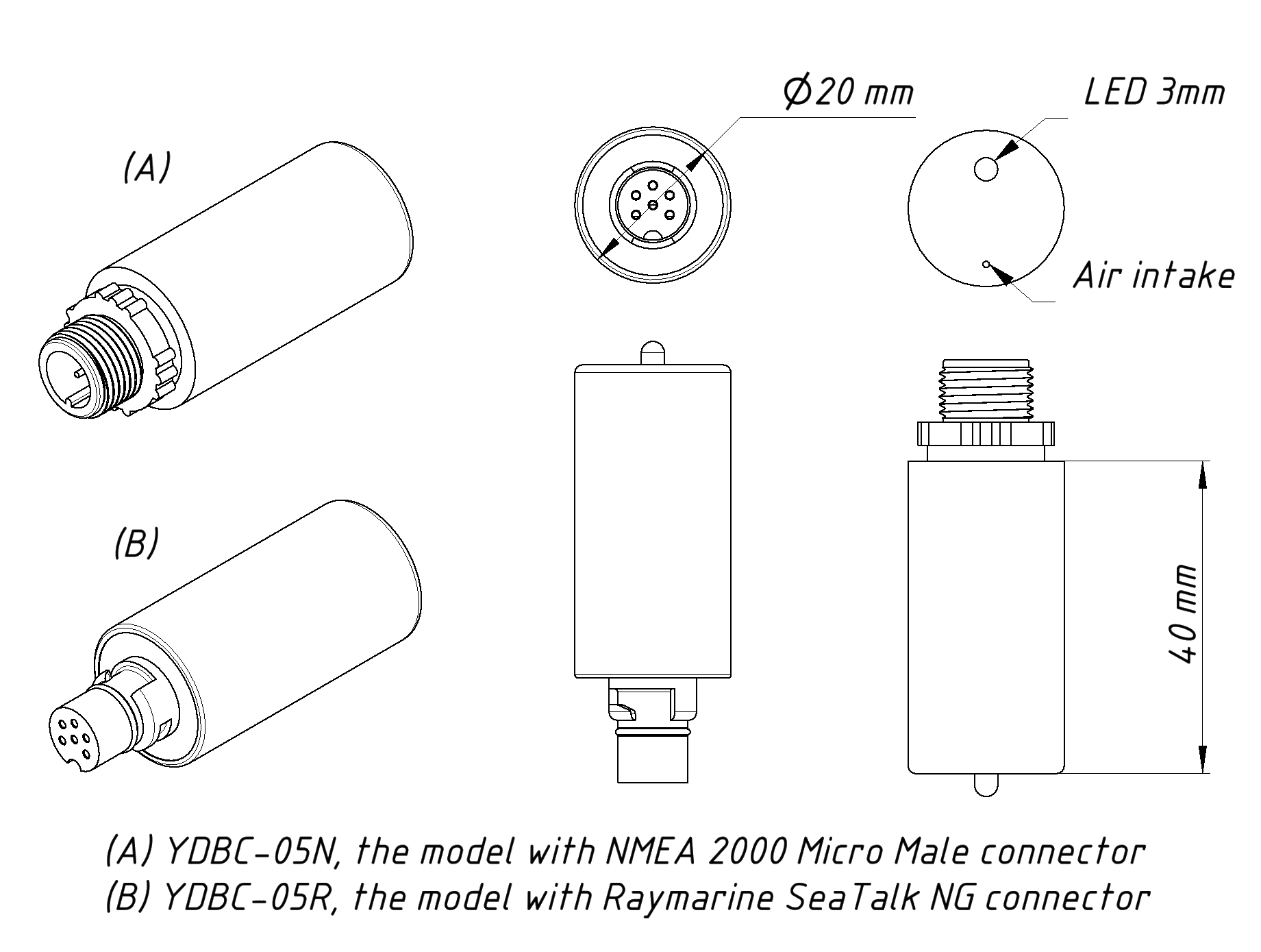 Digital Barometer For Nmea 2000 T Connector Wiring Diagram Drawing Of Ydbc 05n And 05r Models