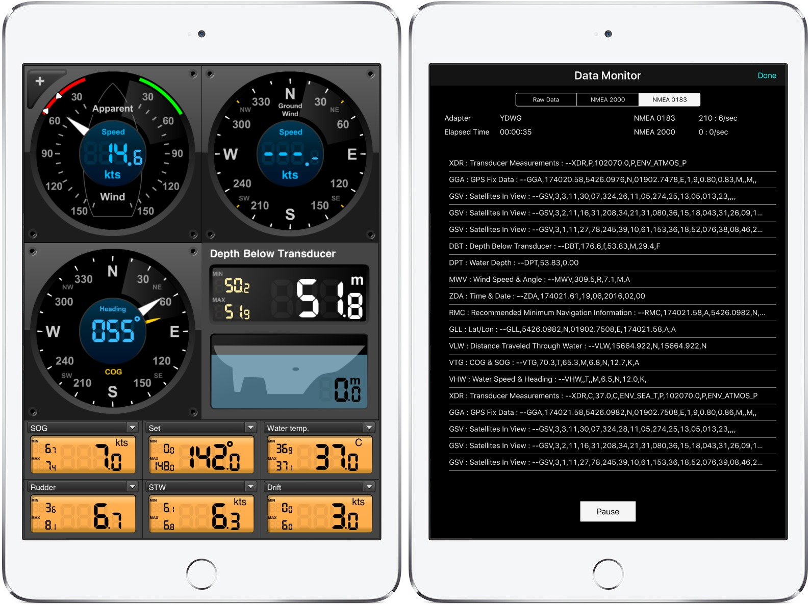 EDO Instruments and AirMar OnSiteWX on iPad4 Mini