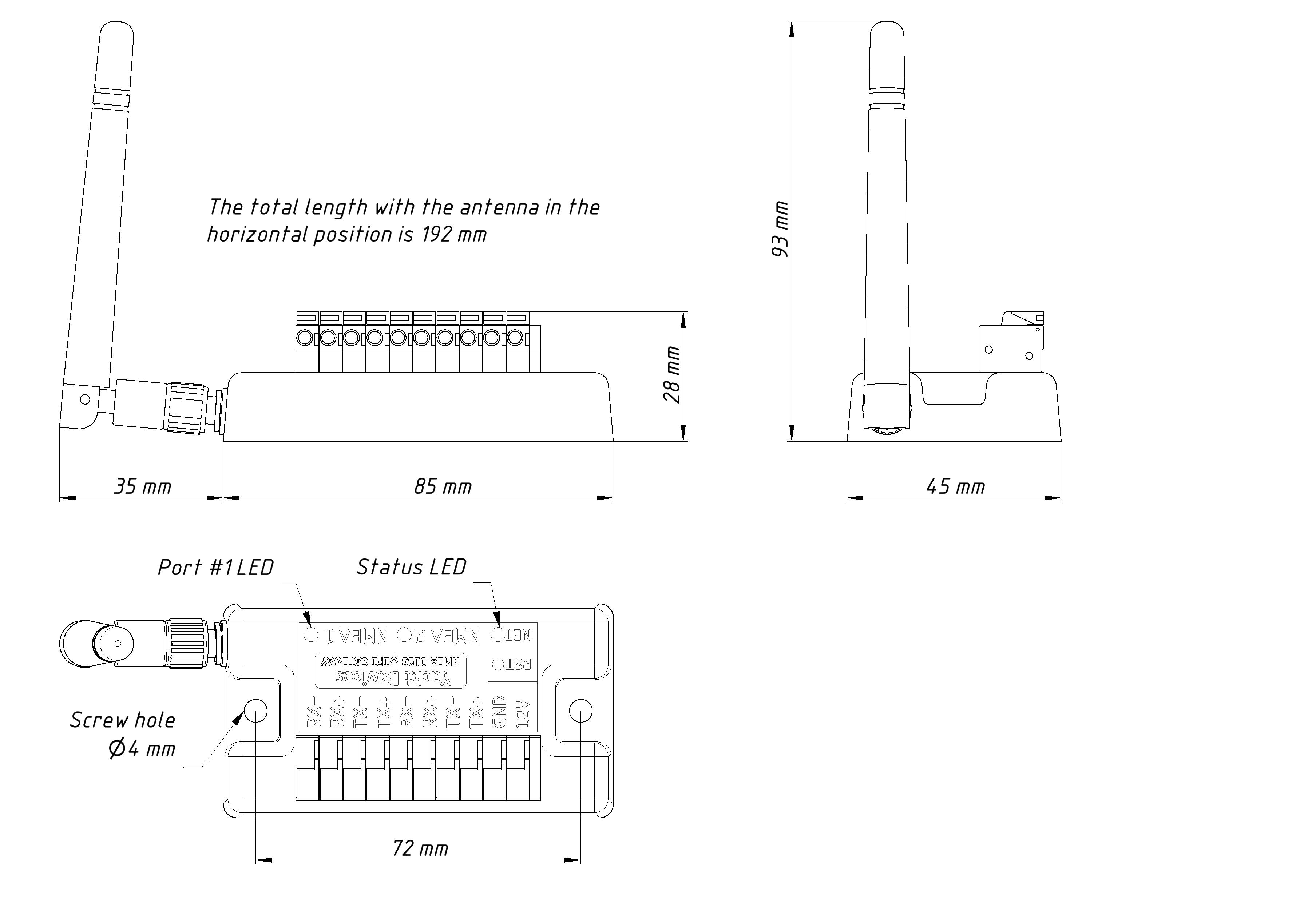 Drawing of NMEA 0183 Gateway YDWN-02