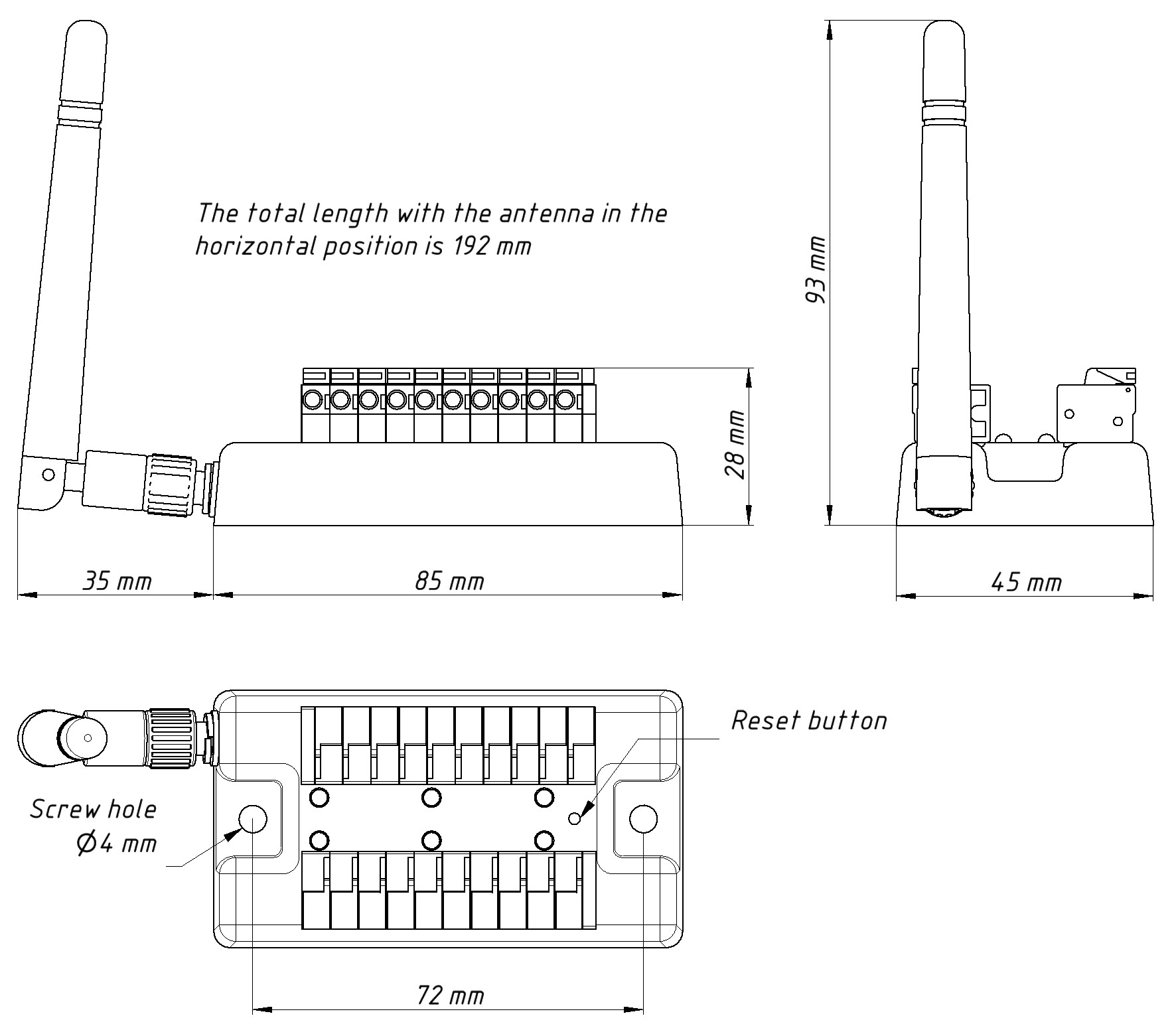 Drawing of NMEA 0183 Router YDWR-02