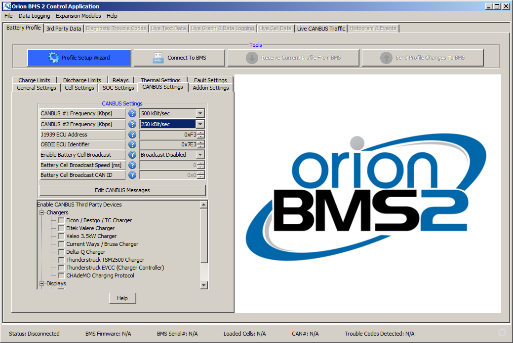 CAN bus speed configuration (Orion BMS2)