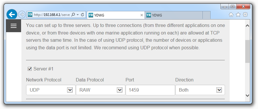Figure 1. Example of server's settings