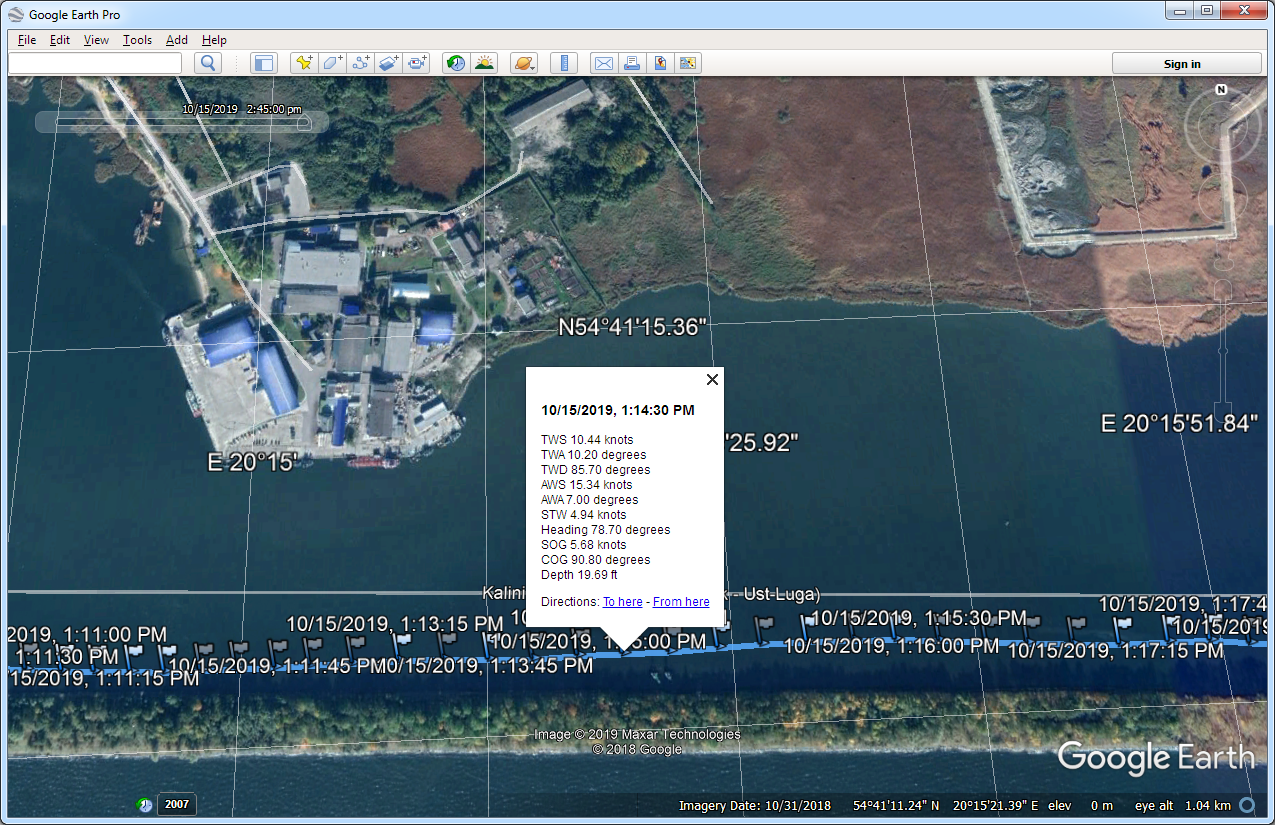 Exported GPX data in Google Earth (PC with Microsoft Windows)