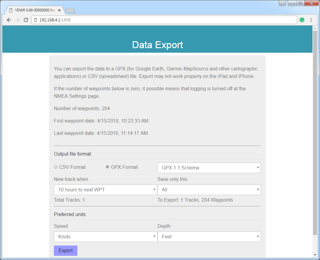 Export of the recorded data to CSV or GPX