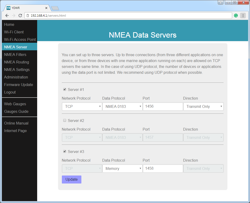 NMEA data servers (TCP or UDP network protocols; NMEA 0183, Memory or Debug data protocols)