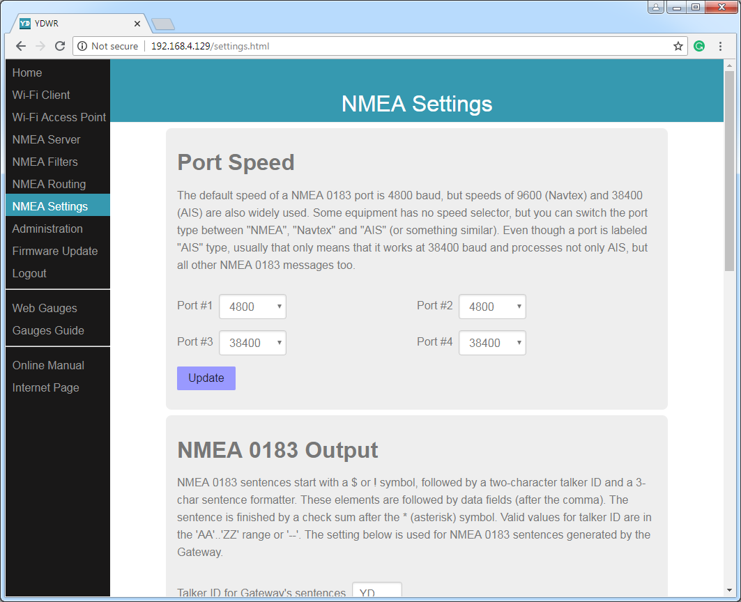 NMEA settings (port speed, true wind calculation, logging, etc.)