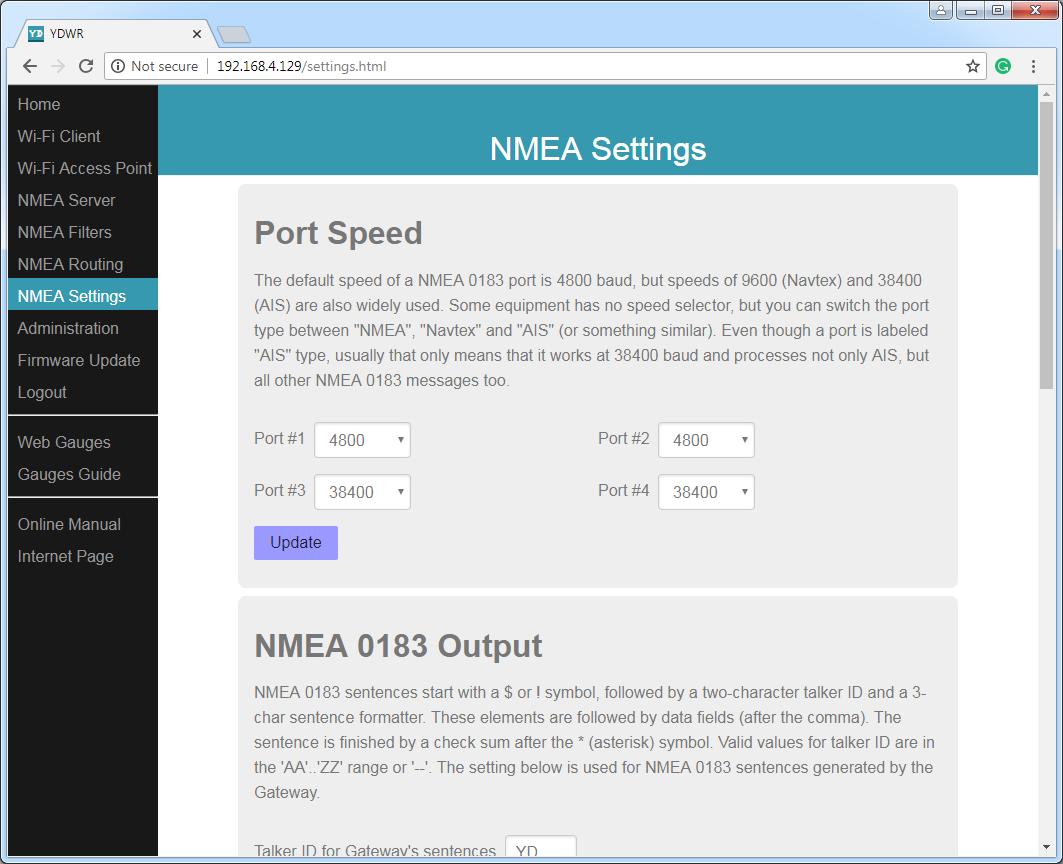NMEA settings (port speed, true wind calculation, logging, etc.)