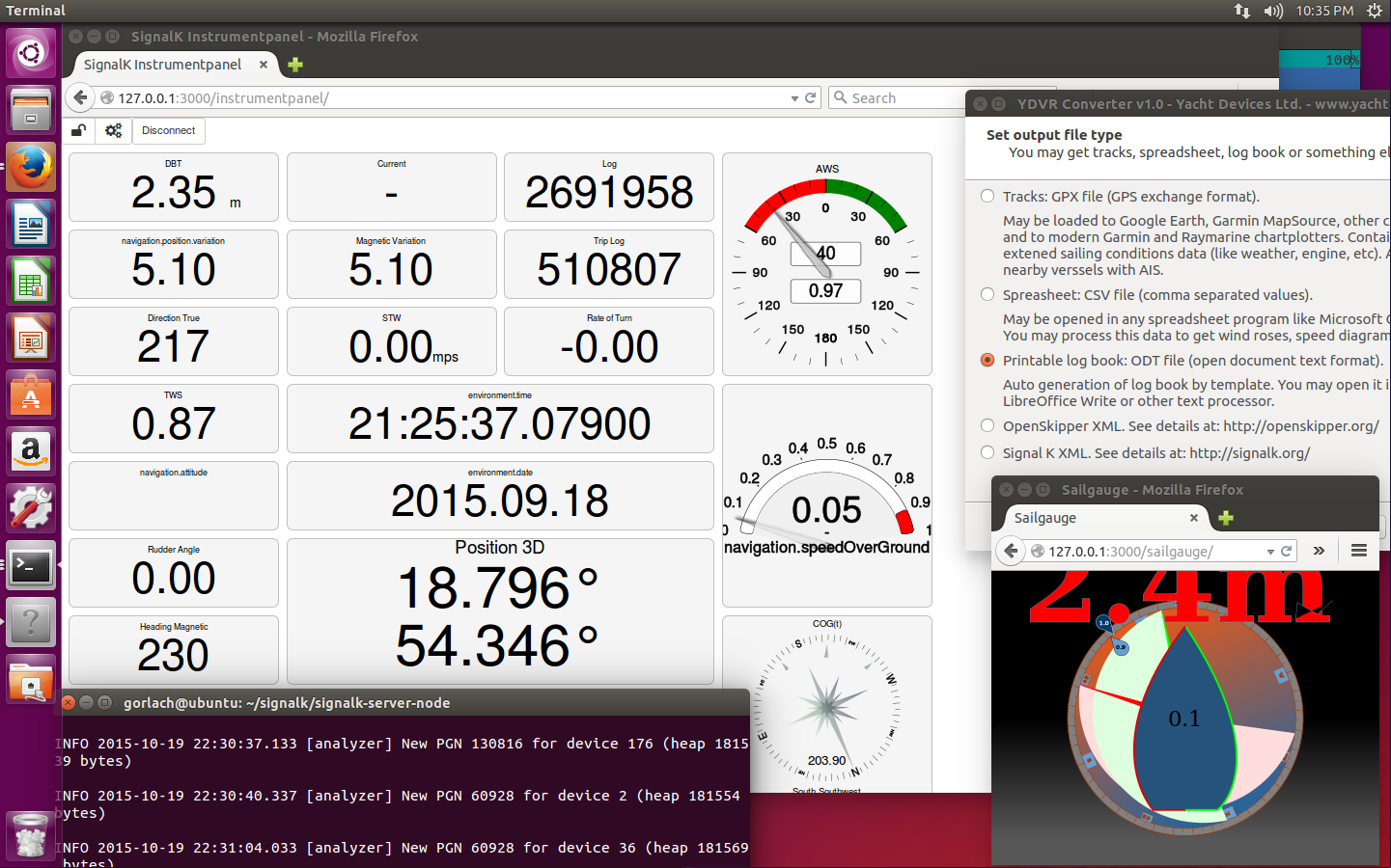 Screenshot of YDVR data in Signal K web applets, click to enlarge
