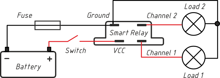 smart relay  control two loads with one power switch