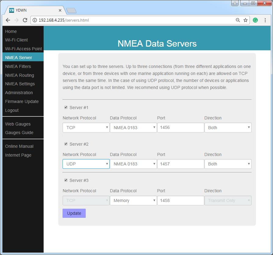 NMEA data servers (TCP or UDP network protocols; NMEA 0183, Memory or Debug data protocols)