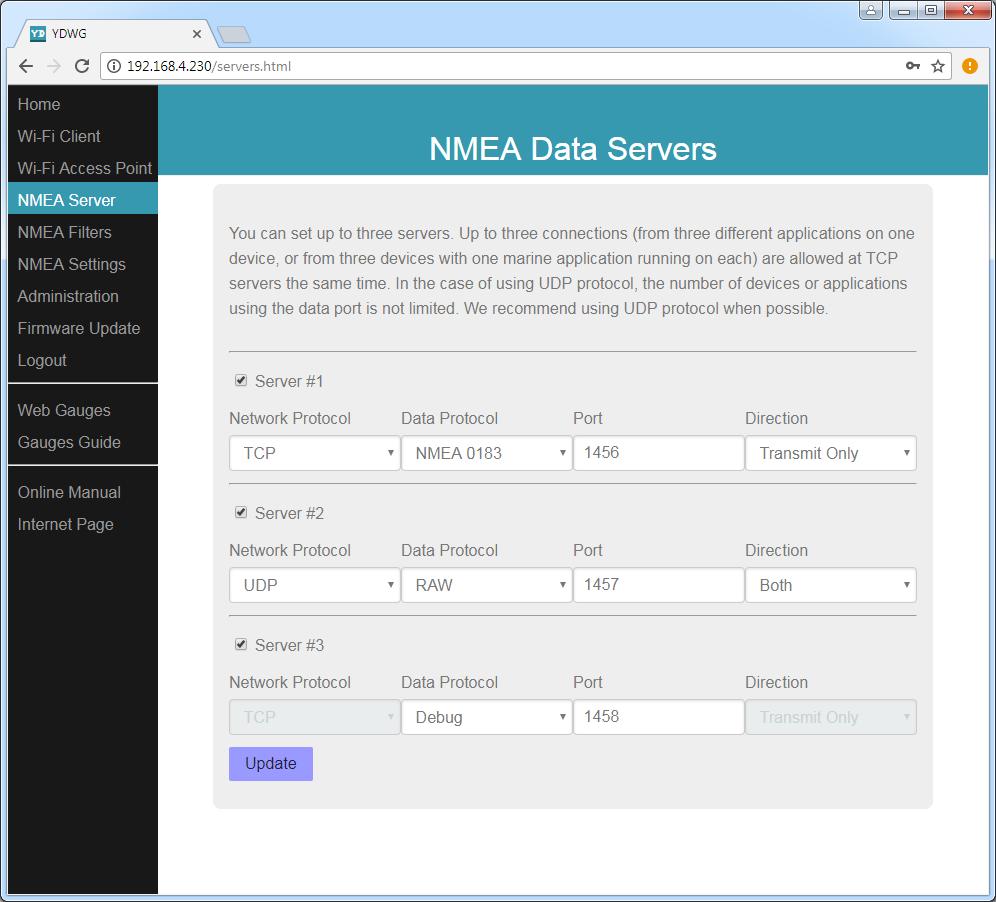 NMEA Data Servers (TCP or UDP network protocols; NMEA 0183, NMEA 2000 or Debug data protocols)