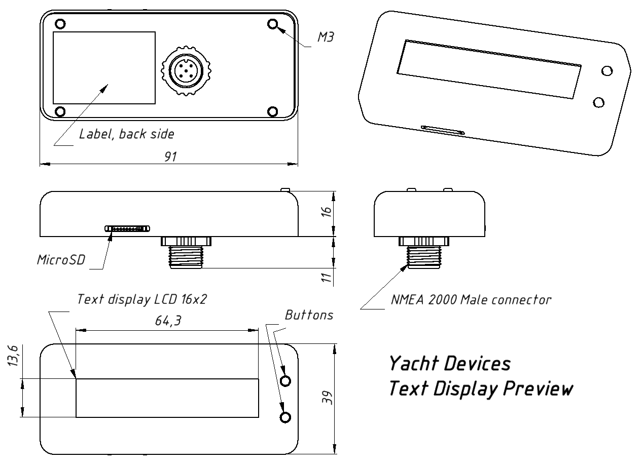 Drawing of Yacht Devices Text Display