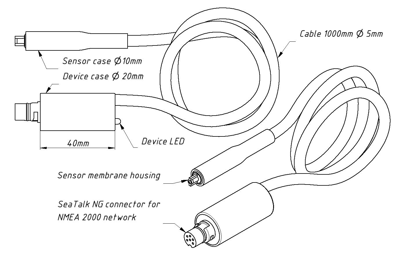 Drawing of YDHS-01R model of Humidity Sensor
