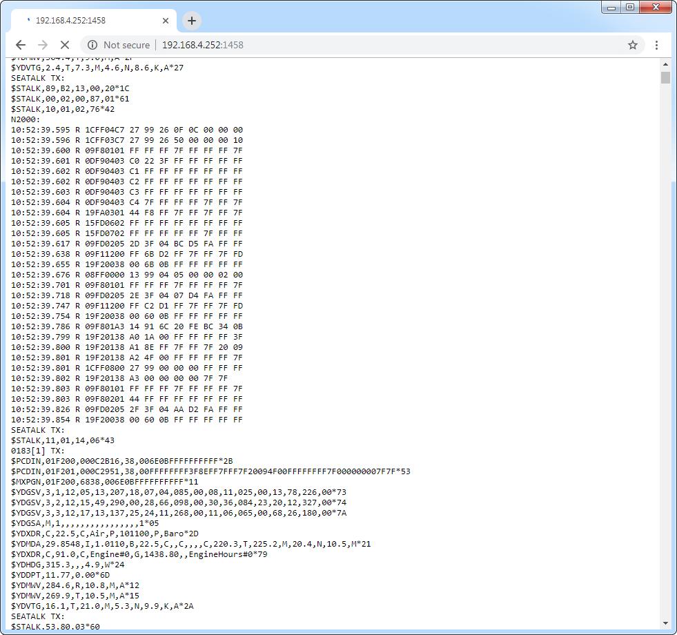 Example of Debug server output