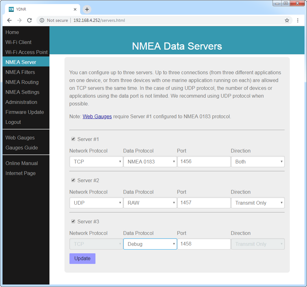 NMEA data servers (TCP or UDP network protocols; NMEA 0183, NMEA 2000 (RAW) or Debug data protocols)